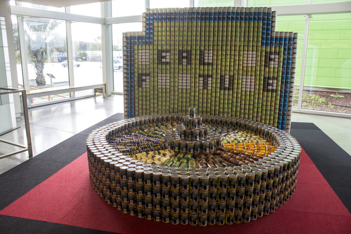 A sculpture of canned food inspired by
